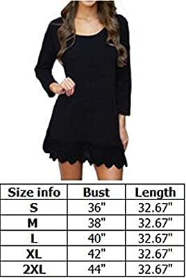 Songbai Women's Long Sleeve A-line Lace Stitching Trim Casual Dress