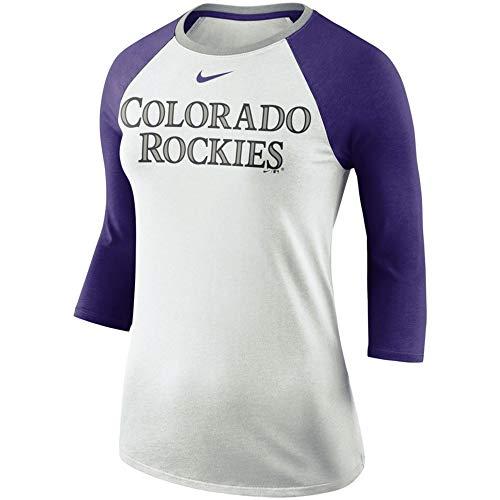 League Tees Colorado Womens Tri-Blend Raglan 3/4-Sleeve T-Shirt - White/Purple -