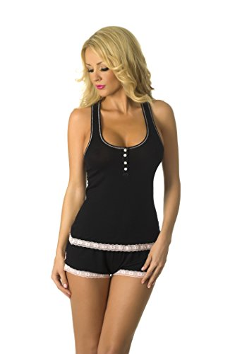72e254f3b4 Velvet Kitten Sweetness Short Sexy PJ Camisole Set Pajama Sleep Shirt  Sleepwear (Black Pink