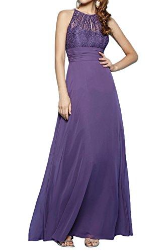 La_Marie Braut Lila Spitze Chiffon Aermellos Abendkleider Brautmutterkleider festlichkleider Bodenlang Neuheit yuIAvf8