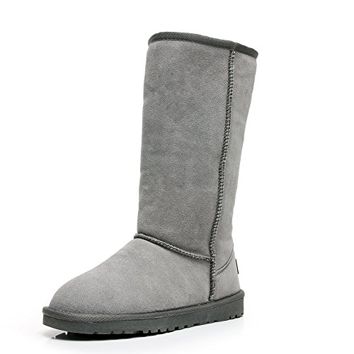 Grey Lined Calf Suede Classic Boots Mid Winter Faux Thick Women Boots Thermal Fur Snow Jamron 6qTaPa