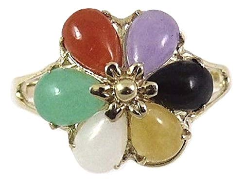 (Vics Fine Jewelry Jade Multi Color 4 x 6 mm Pear Shape Cluster Ring 14k Yellow Gold)