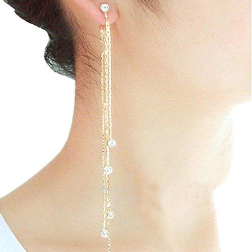 Ikevan Women Party Cocktail Dangle Long Tassels Hook Drop Shiny Linear Earrings (Gold)
