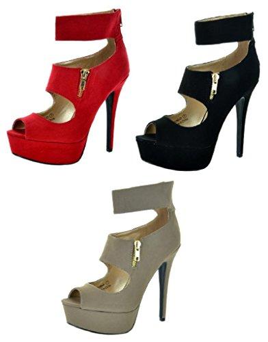 SASSY SEXY CELINE-01 Women's Daring Double Strap Ankle Strap Back Zipper Open Toe High Heel Pumps New