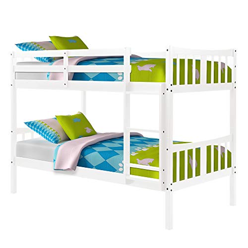 Bunk Bed for Kids, Twin Over Twin Convertible Wooden Bunk Bed Frame with Ladder and Safety Rail, White