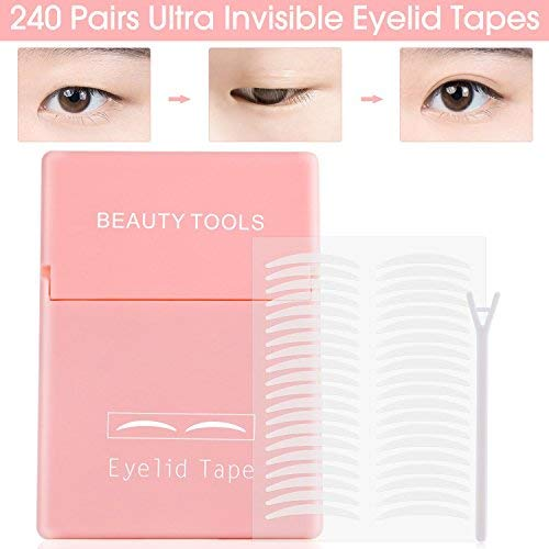 480Pcs/240Pairs Double Eyelid Tape Stickers - Ultra Invisible Breathable Fiber - Instant Eye Lift Without Surgery - Perfect for Hooded, Droopy, Uneven, or Mono-eyelids (S)