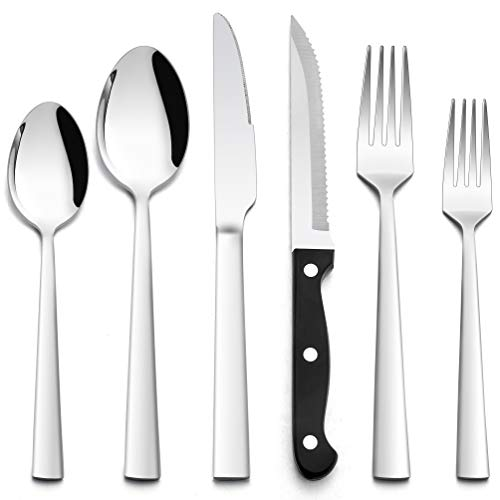 48-Piece Silverware Set, HaWare Stainless Steel Square Flatware Cutlery Set for 8, Eating Utensils Tableware Set with 8…