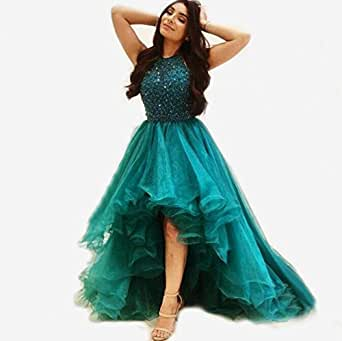 TTN Women's High Low Homecoming Prom Dresses For Juniors Girls Green Organza Bling Beading Sequins Party Formal Gowns