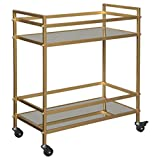 Ashley Furniture Signature Design - Kailman Bar Cart - Contemporary - Casters - Gold Finish
