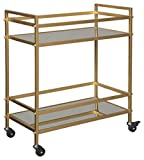 Cheap Ashley Furniture Signature Design – Kailman Bar Cart – Mid Century Style – 2 Shelves with Casters – Antique Gold Finish
