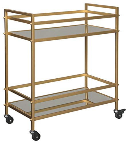 - Ashley Furniture Signature Design - Kailman Bar Cart - Mid Century Style - 2 Shelves with Casters - Antique Gold Finish