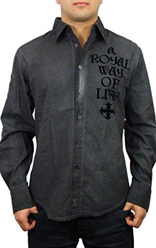 Rebel Spirit Men's Crystal Fleur Button Up Woven Shirt S Grey