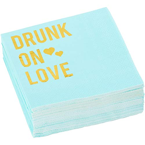 C.R. Gibson Blue and Gold 'Drunk On Love' Beverage and Cocktail  Napkins, 40pc, 5'' W x 5'' - Napkins Love Beverage