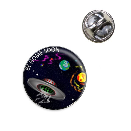 Flying Saucer UFO Planets Space Be Home Soon Lapel Hat Tie Pin Tack]()
