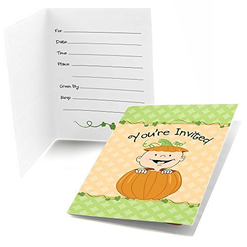 Big Dot of Happiness Little Pumpkin - Fill in Fall Baby Shower or Birthday Party Invitations (8 Count)]()