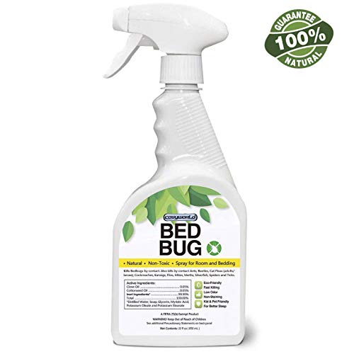 COSYWORLD Bed Bug, Dust Mite & Lice Spray Killer - Fast and Sure Kill with Extended Residual Protection, Natural Non-Toxic, Child & Pet Friendly-22 oz ()