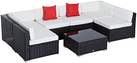 Outsunny Conjunto Muebles de Jardín Ratán 7 Piezas Set de Sofás Patio con 1 Mesita Almohada y Cojín Incluido Marco Acero Resistente Intemperie UV Marrón: Amazon.es: Jardín