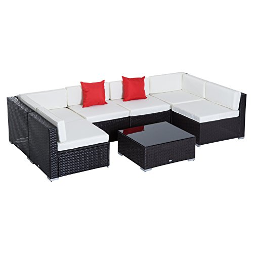 Outsunny 7 Piece Outdoor Patio Rattan Wicker Sofa Sectional Conversation Furniture Set