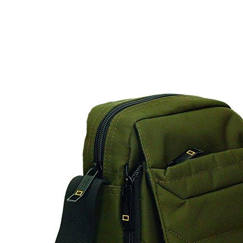 Bolso bandolera de hombre con frontal expandible (Negro) Verde