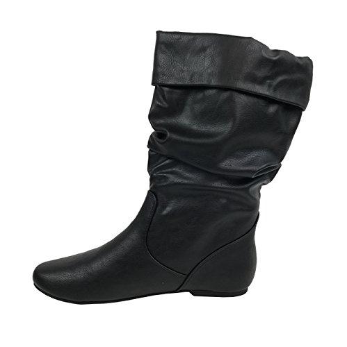 Wells Collection Womens Wonda Stiefel Weiche Slouchy Flat bis Low Heel unter Knee High Neues Schwarz