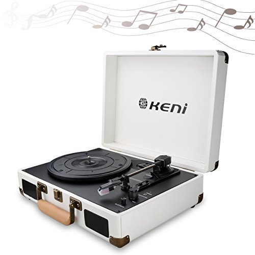 Bluetooth Out Vinyl Record Player, Retro Turntable Stereo Sy