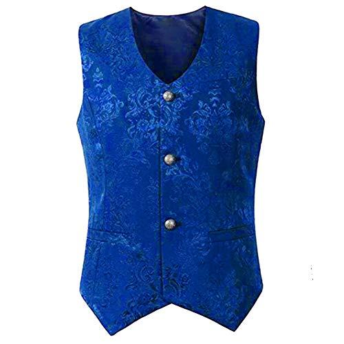 H&ZY Men Steampunk Medieval Retro Waistcoat Vest Costume Halloween Gothic Victorian Blue -