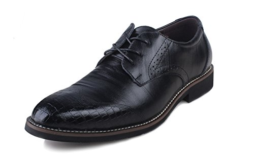 Kunsto Mens Leather Oxfords Brogue Shoes Lace Up Black