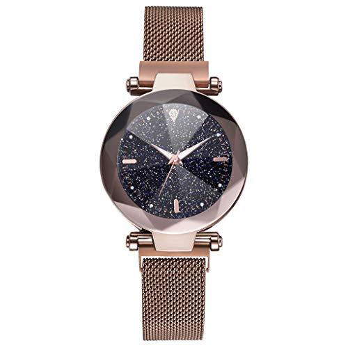 MIS1950s Women Watches Rose Gold Romantic Starry Sky Dial Wrist Watch - Ladies Magnetic Clock Girl Luxury Convex Glass Quartz Mesh Belt Wristwatches (F-Coffee)