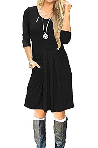Coolred-femmes Crewneck Balançoire Automne Hiver Poches À Manches Longues Mini-robe Noire
