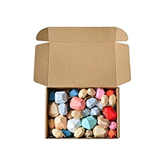 VIENNAR Wooden Rock Balance Blocks Set Balancing Stones Block Lightweight Natural Colored Stacking Game Educational Puzzle Toy (Colourful /36pcs)