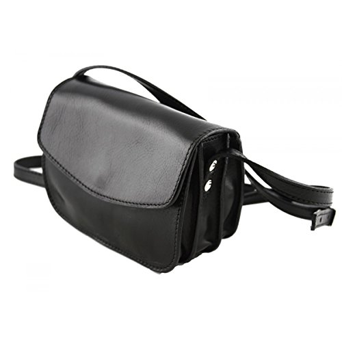 Mini Mujer Bolso Compartimentos 3 Bandolera Verdadera Negro Italia Echa Color En Piel Peleteria rrRxw