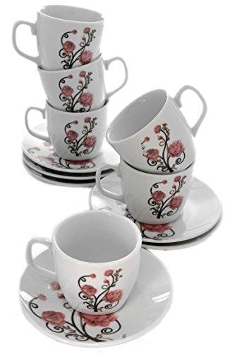 Set 6 Elegant Pink Roses Porcelain Demitasse Espresso Cups with Saucers