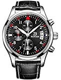 BINGER Mens Sport Chronograph Quartz Watch Date Window Black Face Mineral Crystal Leather