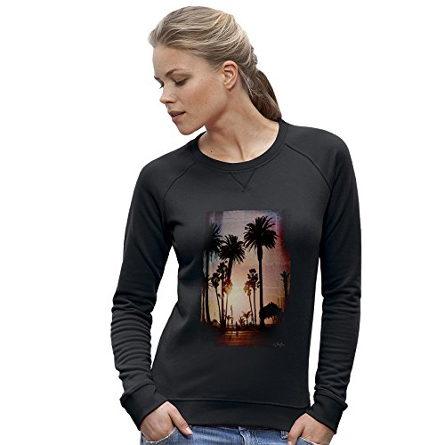 Twisted Envy Palm Tree Sunset Women's Black Sweatshirt Large