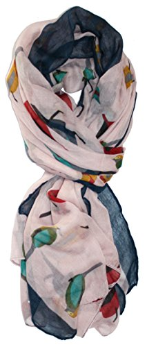 Ted and Jack - Bird Lovers Allover Songbird Print Scarf in Pale Pink