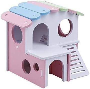 Jaulas de hámster, Hamster House Choza de madera con escalera Ejercicio Juguetes Escondite Villa Diversión Gimnasio Zona de juegos para hámsters Ardillas Jerbos Osos dorados Animales pequeños
