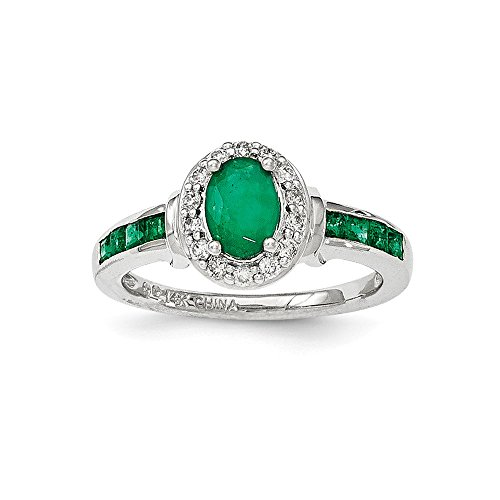 - 14k White Gold Diamond Green Emerald Halo Band Ring Size 7.00 Gemstone Fine Jewelry Gifts For Women For Her