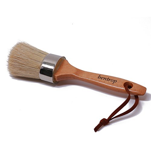 Chalk Paint and Wax Brush with Natural Boar Bristles, Ergonomic Wood Handle, Stencil Brush, Easy-Hang Leather Rope, 2-in-1 Round, Flat brush, Painting Furniture, Folk Art, Home Decor, DIY Projects by BenTrop