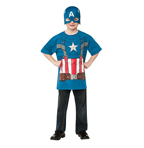 Rubies Captain America: The Winter Soldier Retro Style Costume Top and Mask, Child Medium (Top 10 Movie Inspired Halloween Costumes)