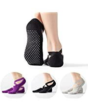 CARYWON 3 Pares Calcetines Yoga Antideslizantes Mujer, Women Yoga Socks con Base Antideslizante, Medias Antideslizantes para Mujer, para Danza/Baile/Pilates/Ballet/Hospitales