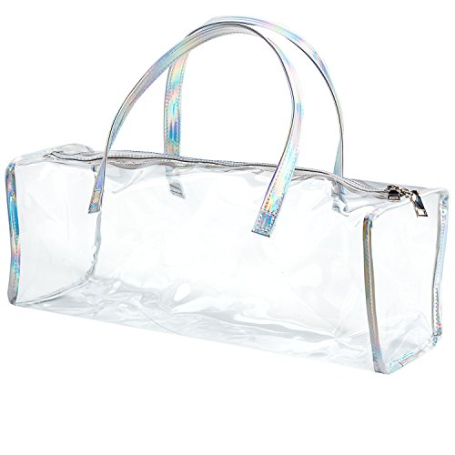 (Family Size Travel Toiletry Case - Clear PVC Luggage Organizer Bag for Men and Women - Large (Silver Hologram))