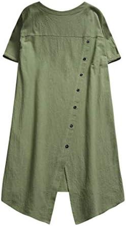 DressLksnf Camiseta Talla Grande Moda para Mujer Tops de Lino Camisa Irregular Cómodo Camisero Color Puro Cuello Redondo Top con Bolsillo Básico Suelto con Volante Blusa Elegante: Amazon.es: Ropa y accesorios