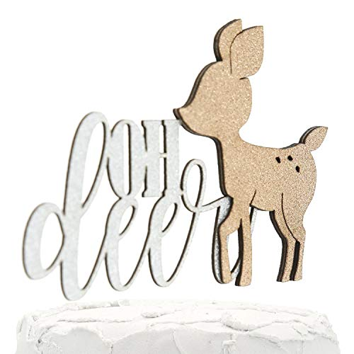 (NANASUKO Baby Shower Cake Topper - oh deer - Double Sided Silver Glitter with Champagne Doe - Premium Quality Made in USA)