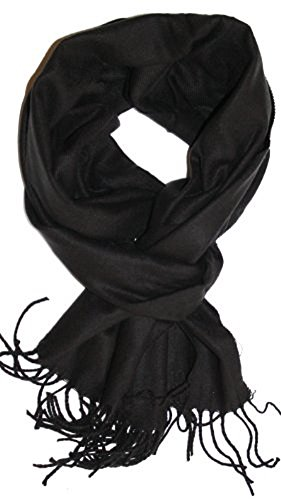 (Veronz Super Soft Luxurious Classic Cashmere Feel Winter Scarf (Solid Black) With Gift Box)