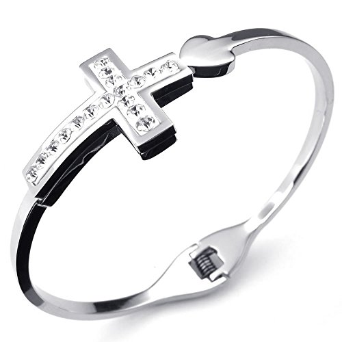 Crucifix Heart Bracelet - KONOV Womens Cubic Zirconia Stainless Steel Bracelet, Cross Heart Cuff Bangle, Silver