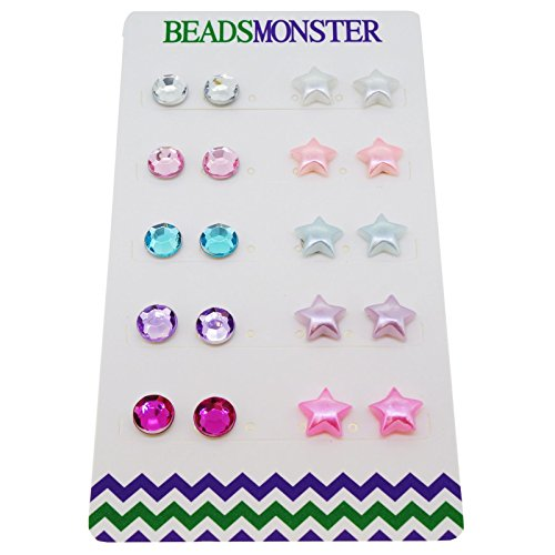 Color Rhinestone and Star Beads Magnetic Clip-on Stud Earrings Gift Set, Pack of 10 Pairs