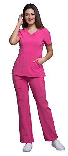 Cherokee Infinity Women's Mock Wrap Scrub Top 2625A & Low Rise Pull-on Scrub Pants 1124A Medical Scrubs Set (Certainty Antimicrobial) (Carmine Pink - Medium/Medium Petite)