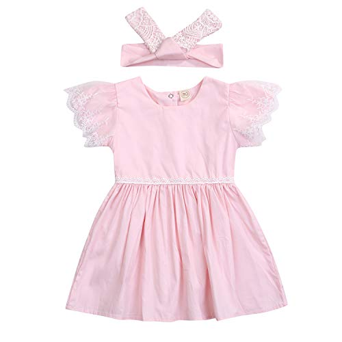 (2019 Baby Girl Summer Sleeve Lace Solid Color Pleated Dress Casual Party A-line Skirt + Headband (Pink, 12-18)