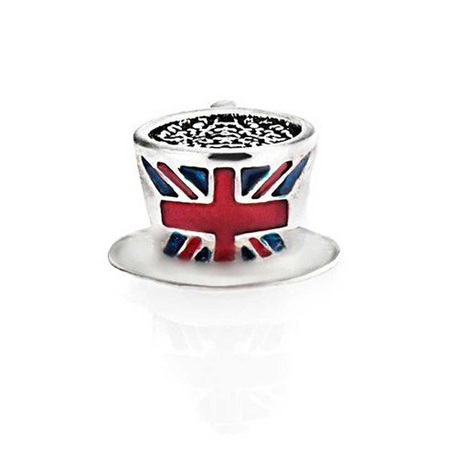 Bling Jewelry Blue, white and Red British Union Jack English Flag Tea Cup Charm Bead .925 Sterling Silver