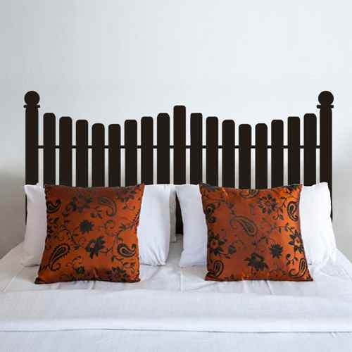 Headboard Decal vinyl Wall Decal Queen Full Twin Size Bed Picket Fence Decals Bedroom Decor(Black,s)